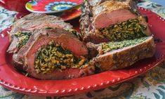 Roasted Lamb Roulade with Spinach and Matzo Farfel Stuffing