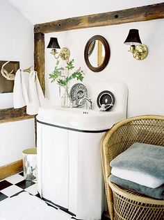 A skirted sink adds major hidden storage space (and style!) to any petite powder room.