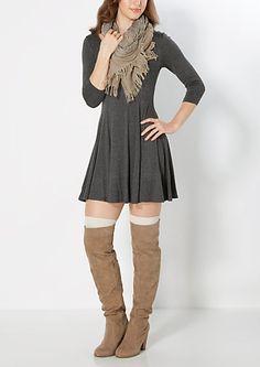 image of Charcoal Gray Skater Dress