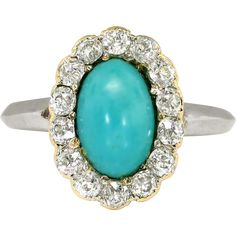 Vintage Edwardian 1920s 2.03ct t.w. Turquoise  Old European Diamond Cocktail Ring - found at www.rubylane.com @rubylanecom