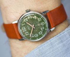Green face watch men's wristwatch shabby face by SovietEra on Etsy