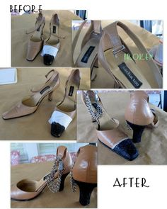 From Wobisobi: Another Shoe Fix, Chain Strap, DIY...I don't wear shoes like this, but how she repaired these shoes gave me ideas for other fixes for other things...Thanks!!