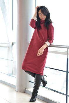 Замшевое платье: как носить платье кокон зимой