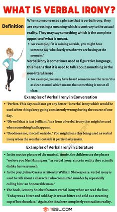 Verbal Irony Definition and Useful Examples in Conversation & Literature - 7 E S L Essay Writing Skills, English Writing Skills, Book Writing Tips, Learn English Grammar, Writing Words, English Lessons, English Vocabulary, Teaching English, Dissertation Writing