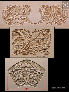 Here is the sterling art of Peter Main. What a delight it was to take a class from him! Leather Stamps, Leather Art, Custom Leather, Leather Design, Leather Tooling, Leather Carving, Wood Carving Patterns, Carving Designs, Leather Working Patterns