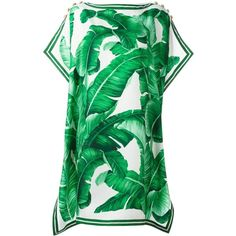 Dolce & Gabbana banana leaf print dress ($1,715) ❤ liked on Polyvore featuring dresses, green, leaf dress, green shift dress, button dress, green silk dress and sleeve shift dress
