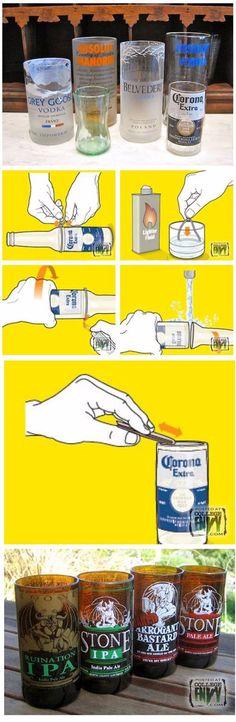 Increible truco para convertir botellas en bonitos vasos. #infografia #manualidades #decoracion