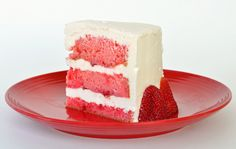 strawberries n cream cake slice strawberry cakes, layer cakes, food, strawberri jello, jello cake, cake recipes