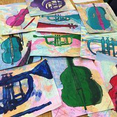 Fifth grade monochromatic tempera painted instruments. #kidsart #arteducation
