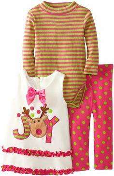 Amazon.com: Bonnie Baby Baby-Girls Infant Reindeer Appliqued Fleece Legging Set, Fuchsia, 12 Months: Clothing