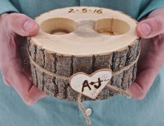 Personalized WOODEN Ring Holder - Ring Bearer - White Ash Wood - Rustic Country Wedding - Brown
