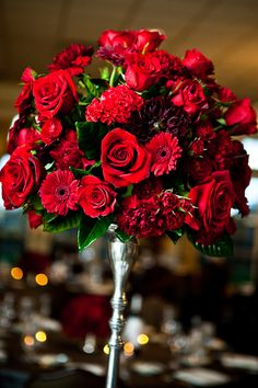 Can flowers be too red?  I think not, especially at a UGA wedding :)