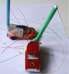 Drawing with cars - Andrea Dukek - Drawing Activities, Home Activities, Learning Activities, Toddler Activities, Diy For Kids, Crafts For Kids, Transportation Theme, Early Childhood Education, Childcare