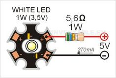 Podemos alimentar un led de potencia de 1W sin necesidad de un driver, simplemente nos sirve una resistencia en serie y un alimentador de 5V