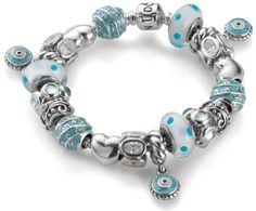 A completed Pandora bracelet idea...if money were no object...sigh - I love it but so impractical - you would not be able to wear it much.