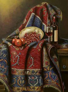 HALI Shabby Chic Art, Paisley Art, Painting Carpet, Hyper Realistic Paintings, Still Life Drawing, Iranian Art, Turkish Art, Butterfly Painting, Arabic Art