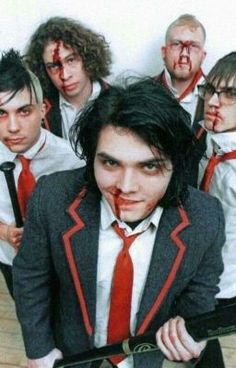 Sober, focused and beginning to think hard about their image. My Chemical Romance recreate their look from the 'I'm Not Okay (I Promise)' video for a Kerrang! cover shoot in London, February Emo Bands, Music Bands, My Chemical Romance, Music Stuff, My Music, Mikey Way, Black Parade, Frank Iero, Gerard Way