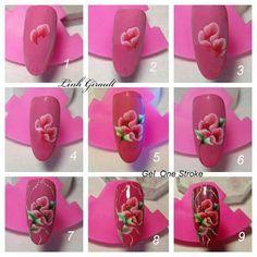 Colorful Nail Art, Floral Nail Art, Nail Art Diy, Uñas One Stroke, One Stroke Nails, Flower Nail Designs, Nail Art Designs, Nails First, Nail Decorations