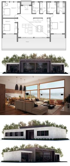 Contemporary home plan, open planning, high ceiling in the living area, three bedrooms.