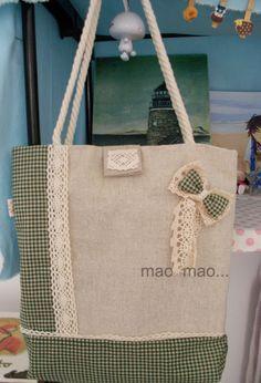 毛毛手工布包 绿色圆点 森林系 麻布花朵 包