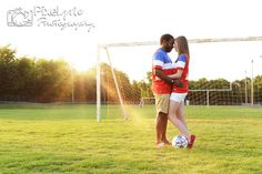 engagement, soccer, soccer field, jerseys, sunset