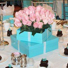 tiffany blue centerpiece | Tiffany blue with shades of pink!
