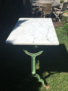 Signed French Iron Conservatory Table with Marble Top | From a unique collection of antique and modern desks and writing tables at https://www.1stdibs.com/furniture/tables/desks-writing-tables/