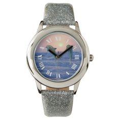 Dolphins at sunrise glitter wrist watch