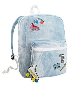 "This whimsical backpack from twelveNYC features two compartments, padded straps and throwback patches. | Denim: Cotton/spandex;  lining: nylon | Hand wash | Imported | 12""W x 16""H x 6""D 