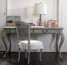 Gray Painted Desk And Chair! Love The Antique Desk And Gray Cane Chair With  The Ruffled Cushion!