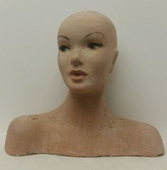 """Vintage 1930s Composition Female """"Mannequin Head Bust"""" Store Advertising Display #Decter"""