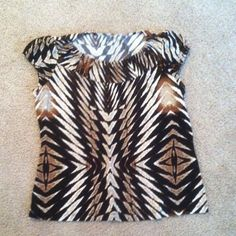 Tribal print plus size top 1X dress shirt Tribal print 1X shirt very dress brown black new like tag was cut off but its white stag 1x brand great flowy material breathable great fir office type or interviews casual look i do have a pants bundle avail w this also if needed White Stag Tops Blouses