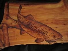 trout fisherman wall decor woodburning of trout on by SepiaTree, $74.00