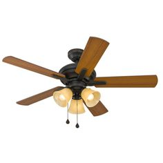 Harbor Breeze Lansing 42-in Oil Rubbed Bronze Indoor Downrod Or Close Mount Ceiling Fan with Light Kit - APR18