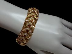 Joan Rivers Bracelet Topaz Clear Rhinestone Goldtone Swirl Stunning Retired Rare #JoanRivers #Statement