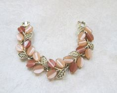 Vintage Signed Lisner Mocha Beige Tan Brown Thermoset Gold Leaves Bracelet