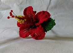Chevron Red Hibiscus - $6.00 -  Flawless Crochet Flowers on Ravelry