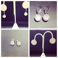 5ct CZ and 1ct CZ earrings set in 14k white gold.   At Gems of the Jungle Jewelers in Lake Mary FL