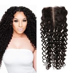 Brazilian Hair Water Wet Wave Free Part Lace Closure inchs Natual Color Curly Weave Hairstyles, Black Girls Hairstyles, Protective Hairstyles, Curly Hair Styles, Virgin Indian Hair, Virgin Hair, Deep Curly, Free Hair, Lace Closure