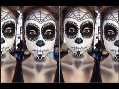 This is absolutely perfect. I pray that I do it this well on Halloween. ▶ Sugar Skull/Dia de los Muertos Tutorial + DIY - YouTube