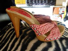 Vtg 70s GREASE style RED GINGHAM Knot Studded Platform HEELS SLIDES Sandal 6.5 #725originals #Heels
