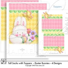"Gift Bags - Printable Easter Bunny Sacks with Toppers. Large size sacks are 5"" w x 7"" Tall and 2"" deep from front to back.  Four different printable Easter gift sacks with matching toppers are included.  Trim the toppers down to fit baggies and cellophane treat bags!"