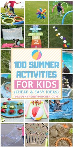 100 Cheap and Easy Summer Activities for Kids - - Keep your kids entertained all summer long with these summer activities for kids. There are plenty of ideas for endless summer fun without breaking the bank. Summer Camp Activities, Outdoor Activities For Kids, Summer Games, Backyard Games For Kids, Toddler Outdoor Games, Summer Activities For Preschoolers, Outdoor Play, Summer Camp Themes, Outdoor Games For Kids