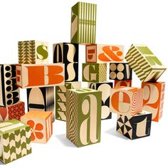 'big & tall block set' - wooden blocks from House Industries which features the complete alphabet as well as numbers, and 28 patterns http://www.houseind.com/objects/blocks/ #typography #play #toys