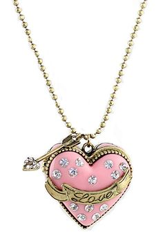 Pink Box Heart Crystal Necklace