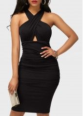 Ruched High Waist Black Sleeveless Sheath Dress