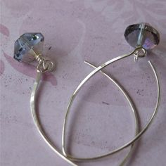 Grey/gray czech glass earrings winter sky by planettreasures, $12.00