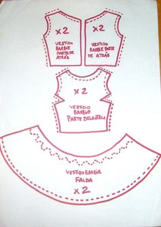 Barbie doll pattern for a very short, full dress. Not in English, but I assume the back is held together with a choice of Velcro or snap fasteners. Sewing Barbie Clothes, Barbie Sewing Patterns, Doll Dress Patterns, Sewing Dolls, Clothing Patterns, Pattern Sewing, Dress Sewing, Crochet Pattern, Free Pattern