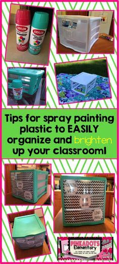Someone was JUST asking about painting plastic crates. Monday Made it! First time trying spray paint! Tips to help you become a pro at spray painting plastic.---buy spray paint and then paint! Classroom Setting, Classroom Setup, Classroom Design, Future Classroom, School Classroom, Kindergarten Classroom, Space Classroom, Classroom Furniture, Classroom Storage Ideas