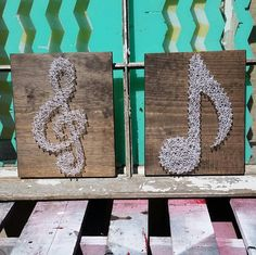 $42 Etsy Set of Music Signs String Art Music Notes Music Teacher Gift Handmade by NailedItDesign.etsy.com